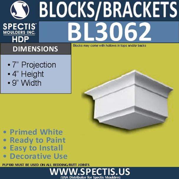 "BL3062 Eave Block or Bracket 9""W x 4""H x 7"" P"