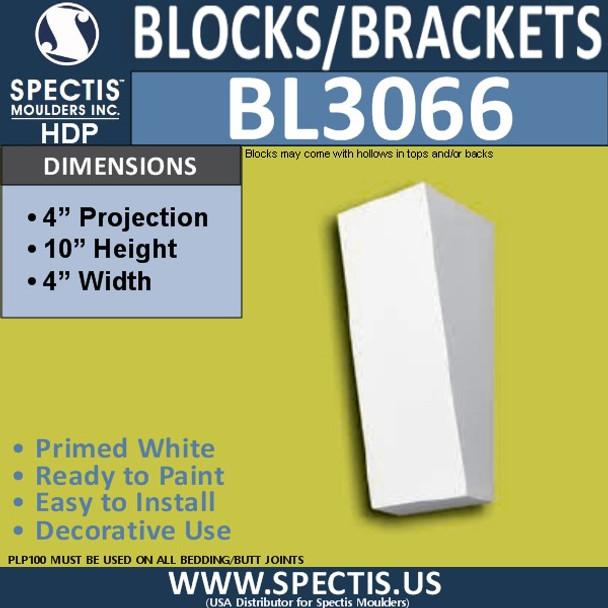 "BL3066 Eave Block or Bracket 4""W x 4""H x 10"" P"