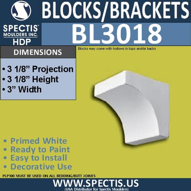 "BL3018 Eave Block or Bracket 3""W x 3.13""H x 3.13"" P"
