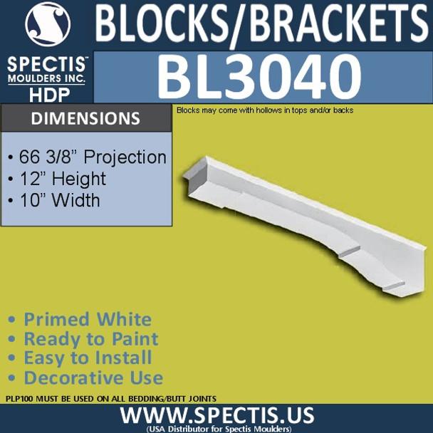 "BL3040 Eave Block or Bracket 10""W x 12""H x 66.38"" P"