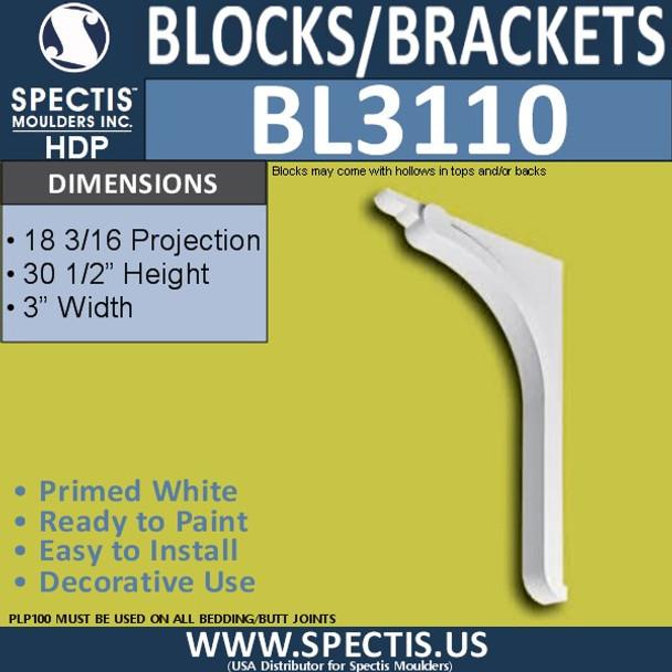 "BL3110 Eave Block or Bracket 3""W x 30.5""H x 18.33"" P"