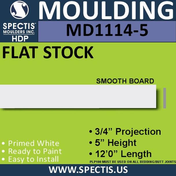 "MD1114-5 Spectis 3/4"" Flat Stock 3/4""P x 5""H x 144""L"