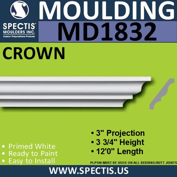 MD1832 Crown Molding Trim decorative spectis urethane