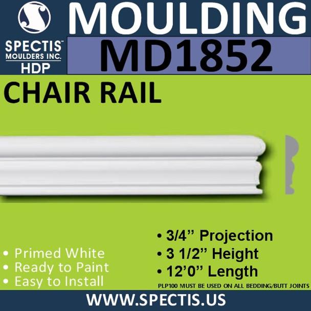 MD1852 Chair Rail Molding Trim decorative spectis urethane