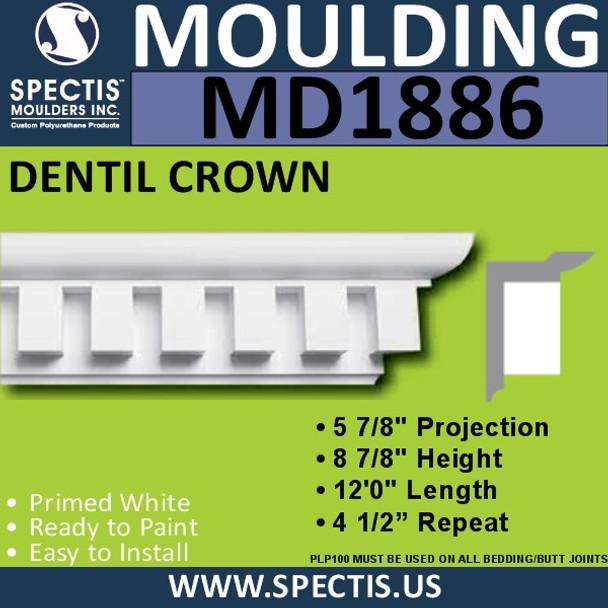 MD1886 Crown Molding Trim decorative spectis urethane