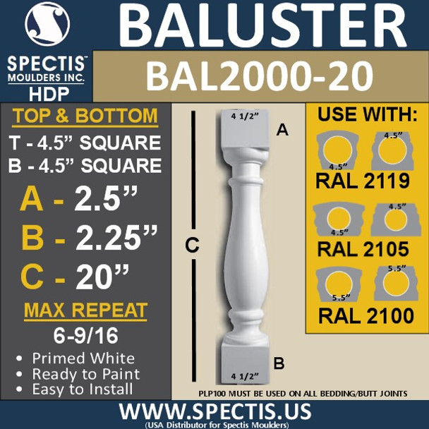 """BAL2000-20 Urethane Baluster or spindle  4 1/2""""W X 20""""H"""