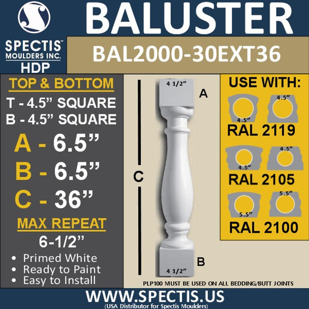 """BAL2000-30EXT36 Urethane Baluster or Spindle 4 1/2""""W X 36""""H"""