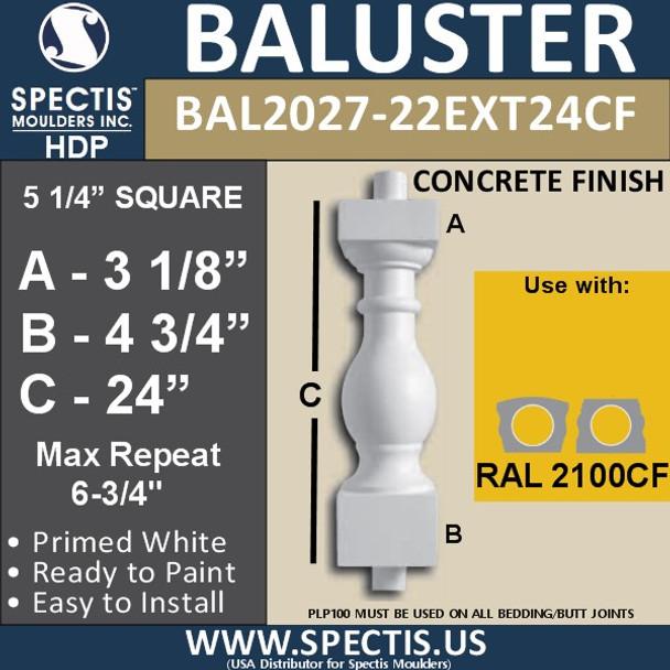 "BAL2027-22EXT24CF Concrete Finish Baluster 5 1/4""W X 24""H"