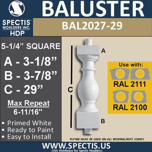 """BAL2027-29 Urethane Baluster or Spindle 5 1/4""""W X 29""""H"""