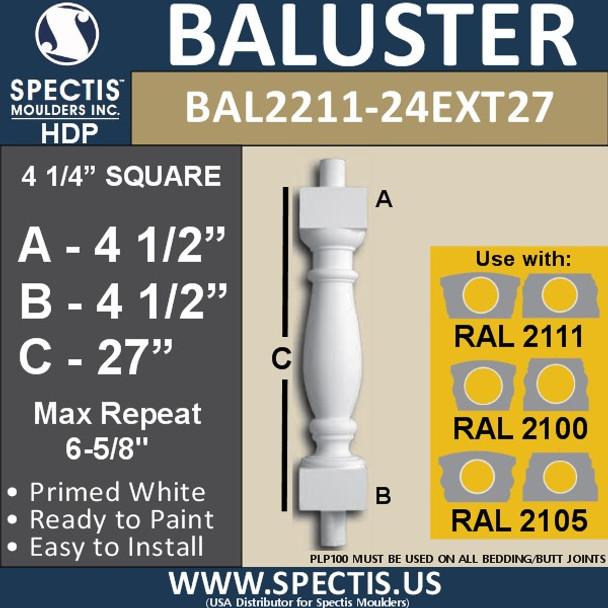 "BAL2211-24EXT27 Spectis Urethane Railing Baluster 4 1/4"" x 27"""