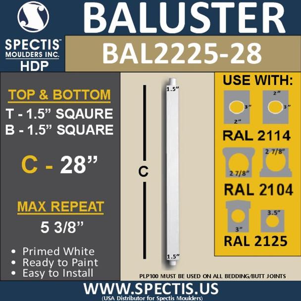 """BAL2225-28 Square Urethane Railing Baluster 1 1/2"""" x 28"""""""