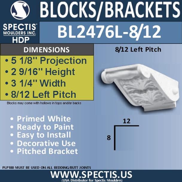 "BL2476L-8/12 Pitch Eave Block or Bracket 3 1/4"" x 2 9/16"" x 5 1/8""P"