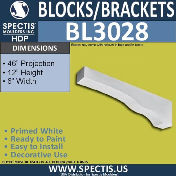 "BL3028 Eave Block or Bracket 6""W x 12""H x 46"" P"