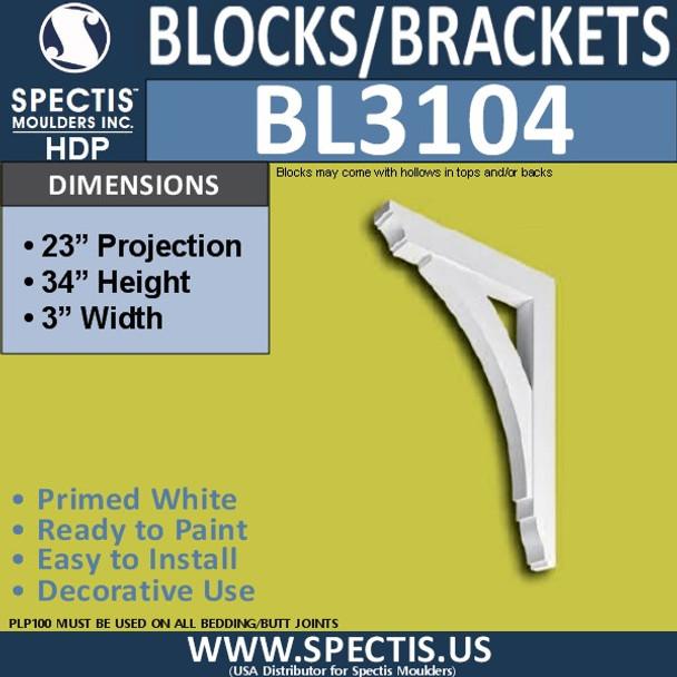 "BL3104 Eave Block or Bracket 3""W x 34""H x 23""P"