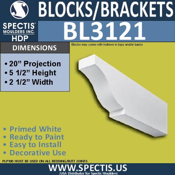 "BL3121 Eave Block or Bracket 2.5""W x 5.5""H x 20""P"