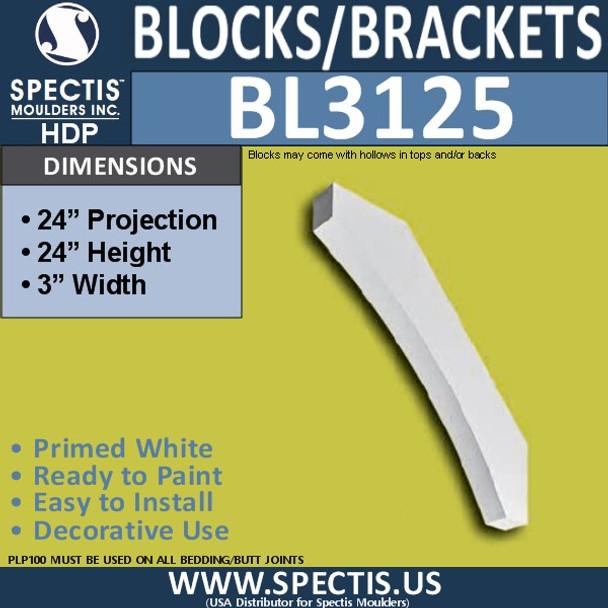 "BL3125 Eave Block or Bracket 3""W x 24""H x 24""P"