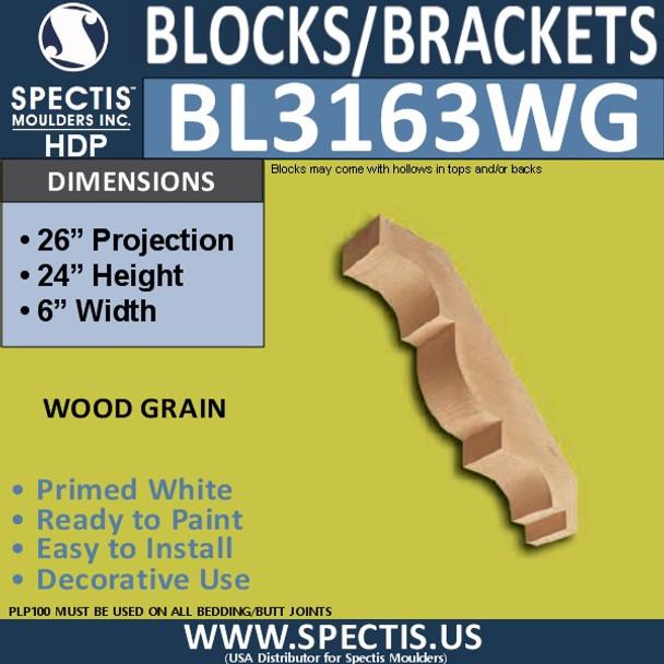 "BL3163WG Wood Grain Eave Bracket 6""W x 24""H x 26""P"