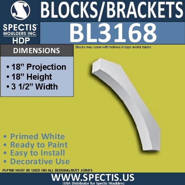 "BL3168 Eave Block or Bracket 3.5""W x 18""H x 18""P"