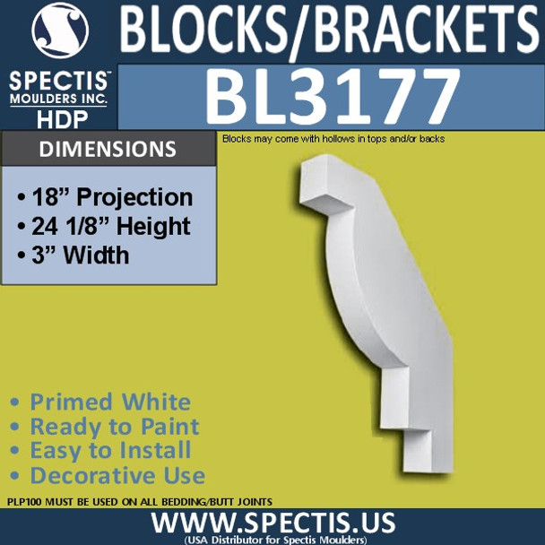 "BL3177 Eave Block or Bracket 3""W x 24.125""H x 18""P"