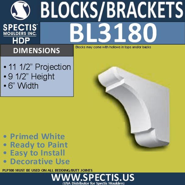 "BL3180 Eave Block or Bracket 6""W x 9.5""H x 11.5""P"