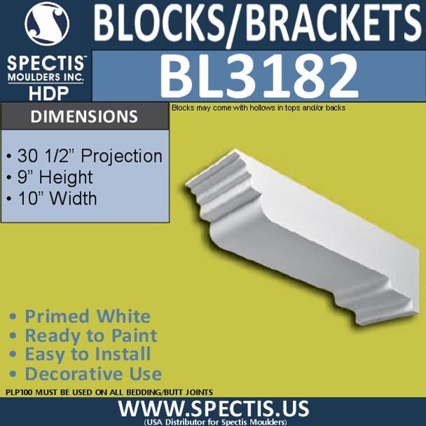 "BL3182 Eave Block or Bracket 10""W x 9""H x 30.5""P"