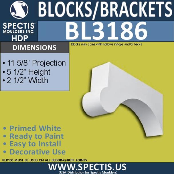 "BL3186 Eave Block or Bracket 2.5""W x 5.5""H x 11.62""P"