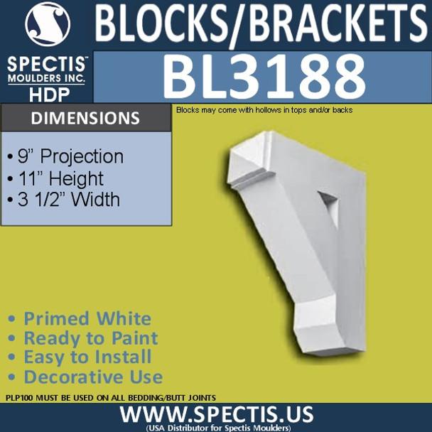 "BL3188 Eave Block or Bracket 3.5""W x 11""H x 9""P"