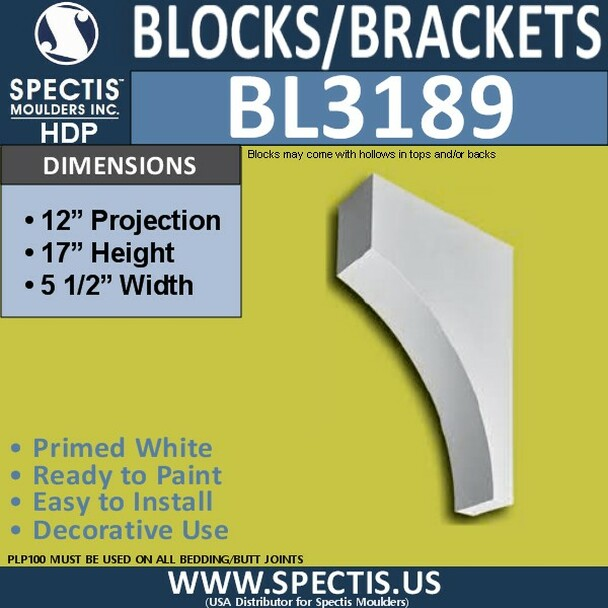 "BL3189 Eave Block or Bracket 5.5""W x 17""H x 12""P"
