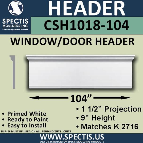 """CSH1018-104 Crosshead for Window/Door 1.5""""P x 9""""H x 104""""W"""