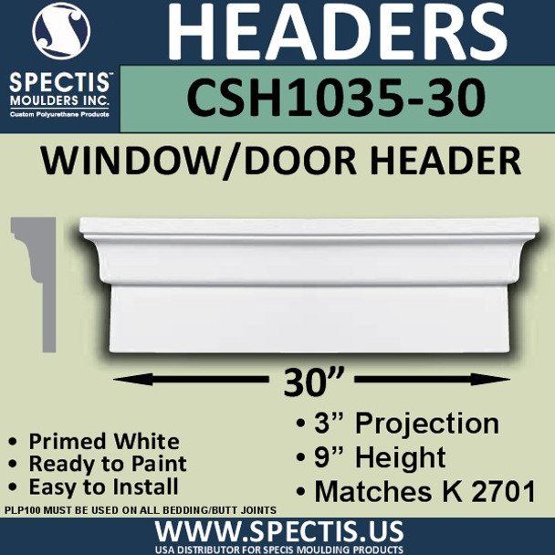 """CSH1035-30 Crosshead for Window/Door 3""""P x 9""""H x 30""""W"""