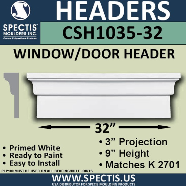 """CSH1035-32 Crosshead for Window/Door 3""""P x 9""""H x 32""""W"""