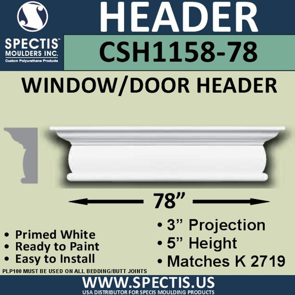 """CSH1158-78 Crosshead for Window/Door 3""""P x 5""""H x 78""""W"""