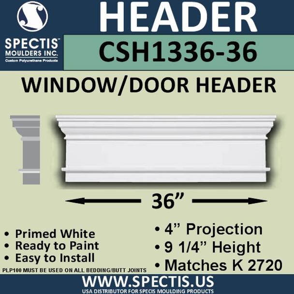 """CSH1336-36 Crosshead for Window/Door 4""""P x 9.25""""H x 36""""W"""