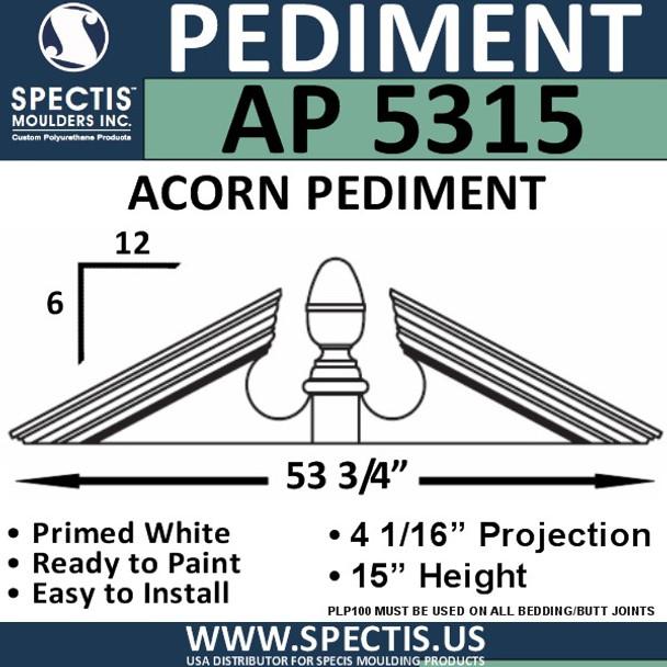 """AP5315 Acorn Pediment for Window/Door 53 3/4"""" x 15"""""""