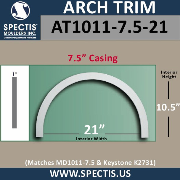 """AT1011-7.5-21 Arch Top Circle 7.5"""" Casing Fits 21"""" Opening"""