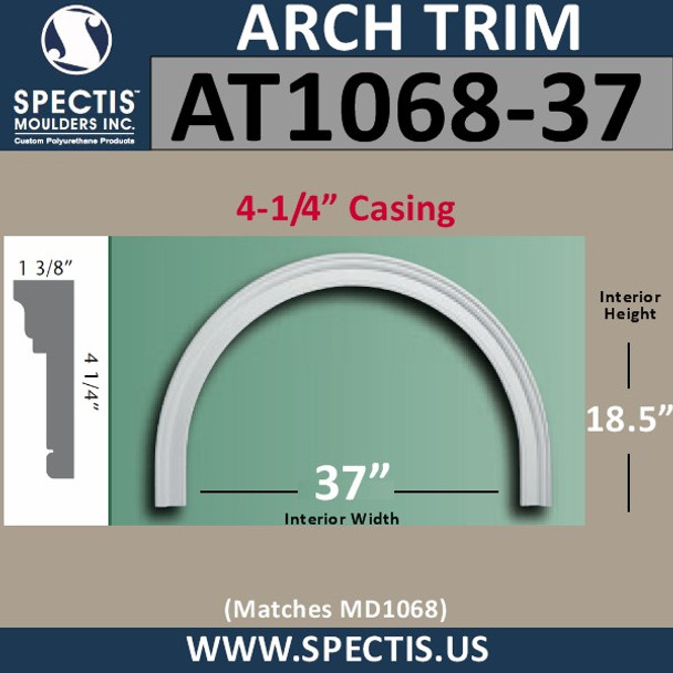 """AT1068-37 Arch Circle Top 4.25"""" Casing Fits 37"""" Opening"""