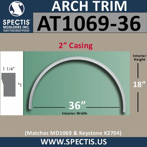 """AT1069-36 Arch Circle Top 2"""" Casing Fits 36"""" Opening"""