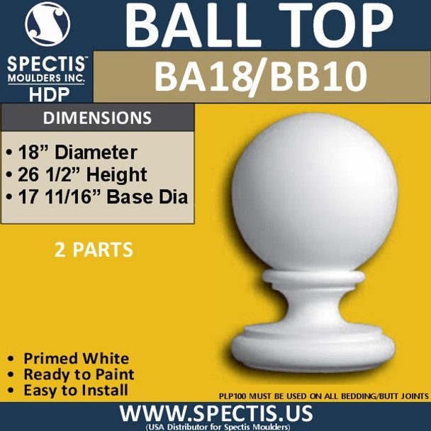 """BA18BB10 Urethane Ball Cap with Base 18"""" Wide"""