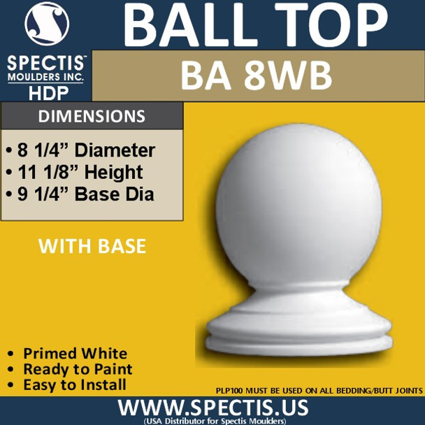"""BA8WB Urethane Ball Cap with Base 8 1/4"""" Wide"""