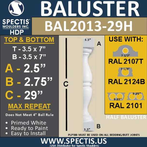 """BAL2013-29H Urethane Baluster or Spindle 3 1/2""""W X 29""""H"""