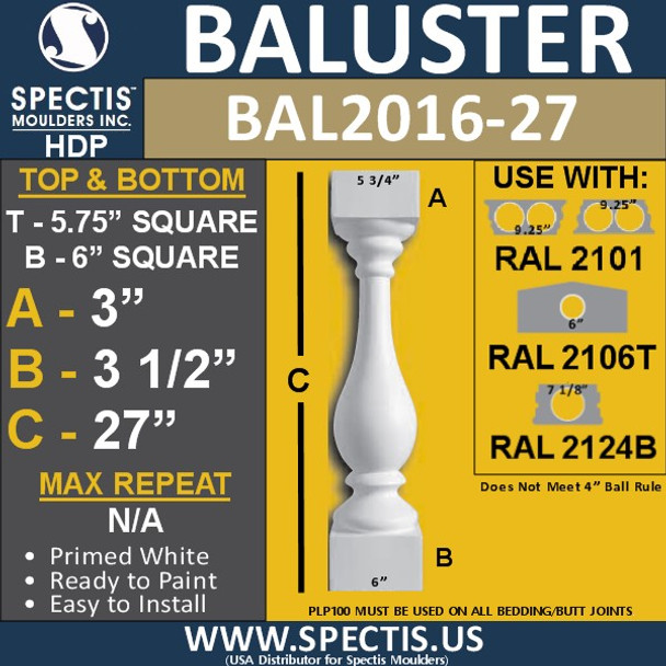 """BAL2016-27 Urethane Baluster or Spindle 5 3/4""""W X 27""""H"""