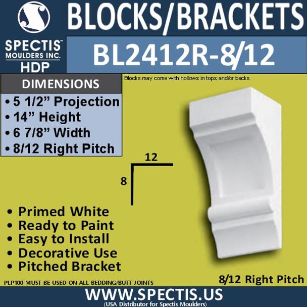 "BL2412R-8/12 Pitch Eave Bracket 7""W x 14""H x 5.5"" P"