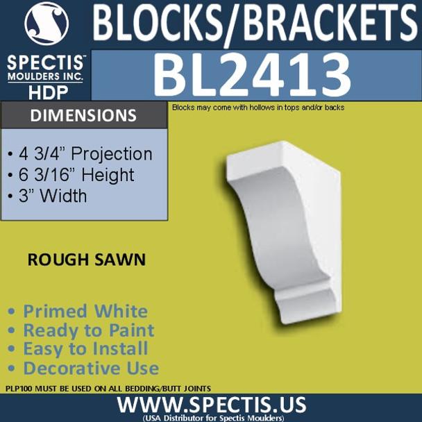 "BL2413 Eave Block or Bracket 3""W x 6""H x 4.75"" P"