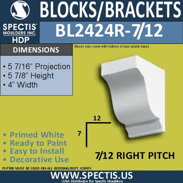 "BL2424L-7/12 Pitch Eave Block 4""W x 6""H x 6"" P"