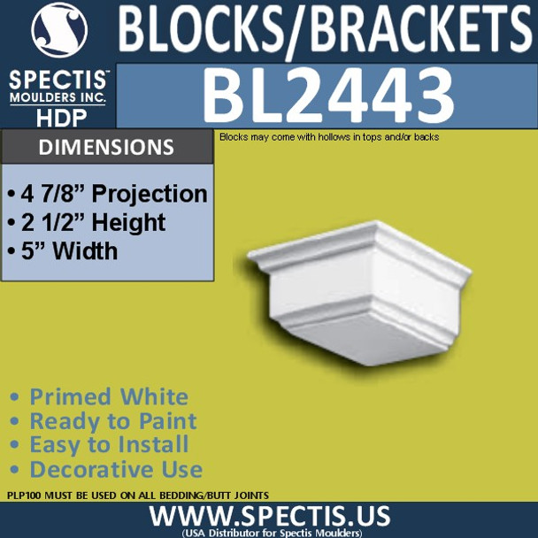 "BL2443 Eave Block or Bracket 5""W x 2.5""H x 4.75"" P"