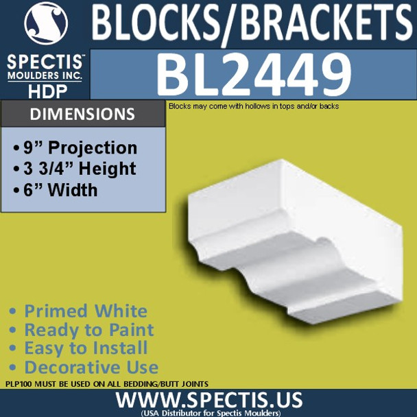 "BL2449 Eave Block or Bracket 6""W x 3.75""H x 9"" P"