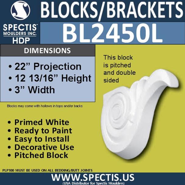 "BL2450L Left Eave Block or Bracket 3""W x 12.75""H x 22"" P"