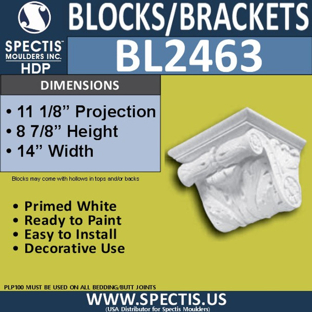 "BL2463 Eave Block or Bracket 14""W x 8""H x 11"" P"