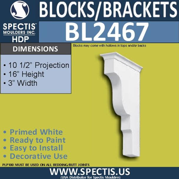 "BL2467 Eave Block or Bracket 3""W x 16""H x 10.5"" P"