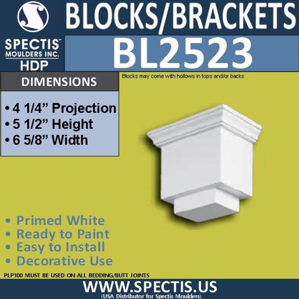 "BL2523 Eave Block or Bracket 6.5""W x 5.5""H x 4.25"" P"